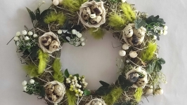Easter wreath of handmade quail eggs. Exclusive spring wreath on the door.