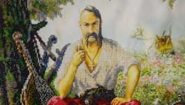 The picture is embroidered with beads Kozak Mamay.