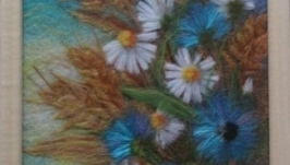 Картина из шерсти Колоски