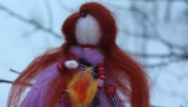 Кукла из шерсти Фея с огнём