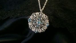 Готика Украшение серебряное кулон серебро ожерелье кристаллы мистика магия