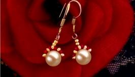 Pearl Earrings silver jewelry handmade Akoya Tahiti Kasumi vintage boho new