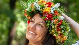 Венок ′Мавка′ с полевыми цветами