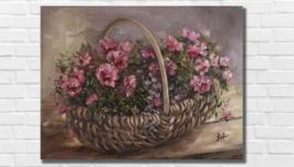 Картина маслом ′Корзина с цветами′ 30х40 см, холст на подрамнике, масло