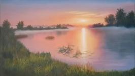Картина маслом. Закат на озере