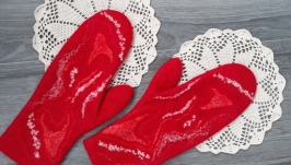 Felted wool mittens ′About Love′, warm women′s mittens, Felt Wool Gloves