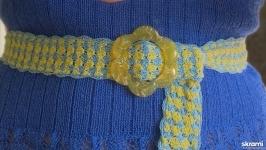 Пояс, вязаный крючком для летних платьев. Жёлто-голубой пояс.