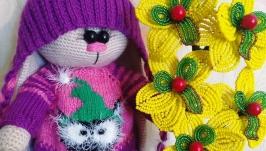 Вязанная игрушка зайка Амелия
