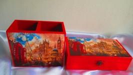 Настольный набор ′Лондон′: карандашница и купюрница (органайзер и шкатулка)