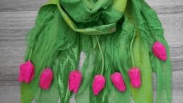 Felted wool scarf ′My Spring′, Nunofelt Shawl