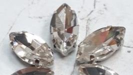 Стразы в цапах серебро 17 на 8 мм