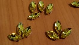 Стразы в цапах желтые 17 на 8 мм