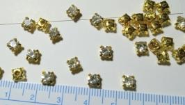 стразы в цапах золотых 5 мм