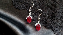 Earrings silver jewelry handmade svarovski crystals topaz garnet coral gift