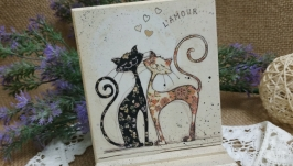 Підставка під телефон  ′Закохані коти′