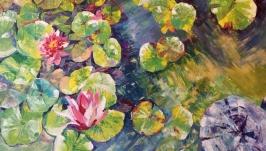 Большое настенное искусство Оригинальная живопись ′Пруд с лилиями′