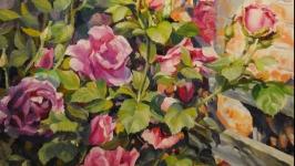 Большая настенная картина с цветами ′Аромат чайной розы′ Акриловая живопись