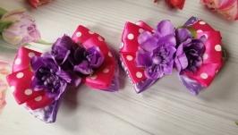Резинки для волос Бантики с цветами, пара