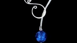 Серебряный кулон лариат серебро кулон Пандора ожерелье кристаллы Сваровски