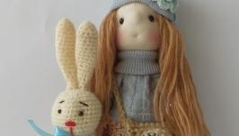 Текстильная интерьерная кукла ручной работы Анастасия и заяц Степан