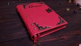Розовый женский блокнот. Кожаная записная книга на замке