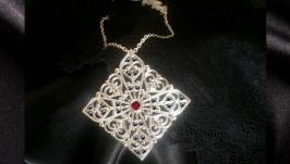 Готика Крест серебряное кулон серебро ожерелье кристал мистика магия бохо