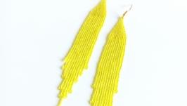 Серьги из японского бисера TOHO Серьги ручной работы желтый