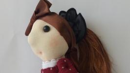 Текстильная интерьерная кукла ручной работы Люси и такса Фрося.