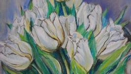 Оригинальная картина Букет тюльпанов Цветочная живопись Настенное искусство