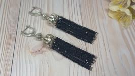 Роскошные длинные черные серьги-кисти со шпинелью