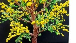 Дерево из бисера  (Мимоза)