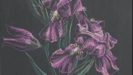 Оригинальная ботаническая картина ′Нежность′ Цветочная живопись  пастелью