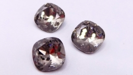 Кристалл 10 мм квадрат подушечка стразы серый ′черный бриллиант′ хрусталь