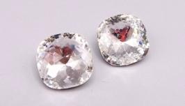 Кристалл 12 мм квадрат подушечка стразы серебро кристалл  хрусталь