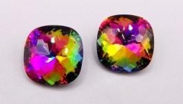 Кристалл 12 мм квадрат подушечка страз Vitrail фиолетовый радужный хрусталь