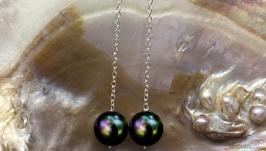 Серебряные сережки жемчужные серьги серебро жемчуг Akoya Tahiti подарок new