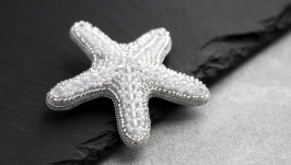 Starfish brooch seed beads embroidered