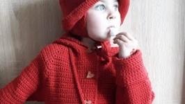 Spring cardigan with handbag and hat