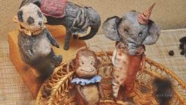коллекционная елочная игрушка из ваты цирк