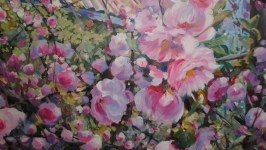 Large wall botanical painting on canvas with acrylic ′Breath of Spring′...