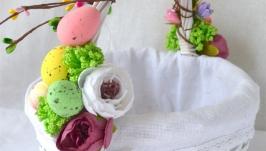 Декоративная плетеная корзина с цветами,пасхальная корзина Великодній кошик
