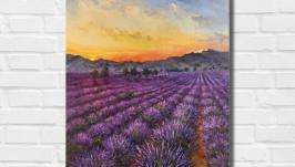 Картина маслом ′Цветочное поле′ 45х35 см, холст на подрамнике, масло