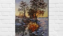Картина маслом ′Зимний вечер′ 40х30 см, холст на подрамнике, масло