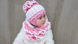 Knitted half-woolen hat and scarf