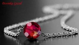 Серебряный кулон браслет серебро кулон ожерелье кристаллы Сваровски подарок