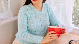 Short mint mohair pullover
