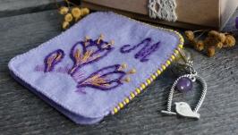 тут изображено Книжная закладка уголок Именная закладка с аметистом и цитрином фиолетовая