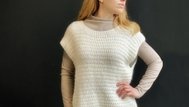Hand-knitted white sleeveless sweater, warm knit vest