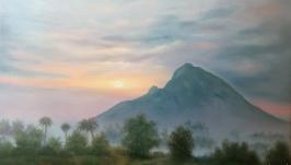 Картина маслом. Гора Аруначала в Индии
