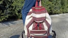 Canvas vegan womens backpack, women leinen rucksak with embroidery pattern